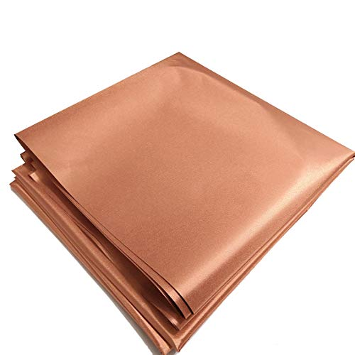 """Copper Fabric Blocking RFID/RF-Reduce EMF/EMI Protection Certified Material Blocks RF Signals (WiFi, Cell, Bluetooth, Radiation Shielding) Golden Color 39""""x43"""" inch"""