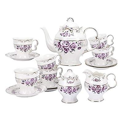 fanquare 15 Pieces Purple Rose Porcelain Tea Set for Adult,Wedding Tea Set,Large British Teapot