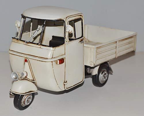 JS GartenDeko Blechmodell Roller Nostalgie Modellauto Oldtimer Marke Vespa Motorroller Modell Ape aus Blech L 33 cm
