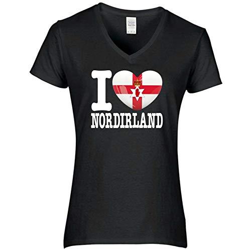 FanShirts4u Damen T-Shirt - I Love NORDIRLAND Northern Ireland - WM EM Trikot Liebe Herz Heart (L, NORDIRLAND/schwarz)