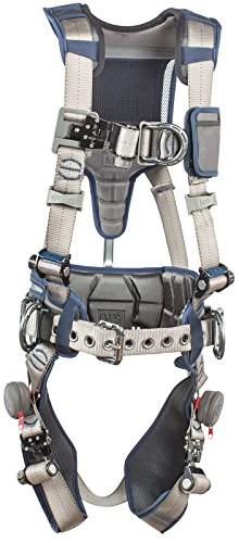 3M DBI-SALA 1112543 ExoFit STRATA, Aluminum 4 D-Rings, Tri-Lock Revolver QC Buckles with Sewn in Hip Pad/Belt, X-Large, Blue/Gray