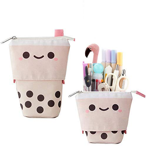 Friinder Cute Boba Milktea Pen Pencil Telescopic Holder Stationery Case, Stand-up Transformer Bag with Kawaii Smile Face Black Dot Organizer, Great for Easter Spring Cosmetics Pouch Makeup Bag(Pink))