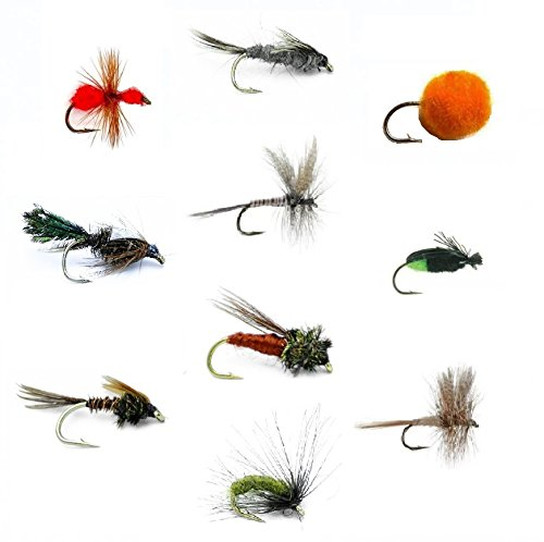Feeder Creek Fly Fishing Flies Set of 30 for Trout and Freshwater Fish - 10 Patterns - Pheasant Tail, Zug Bug, Caddis Pupa, March Brown, Quill Gordon, Red Ant, Egg, Black Crowe, Hendrickson - Sold