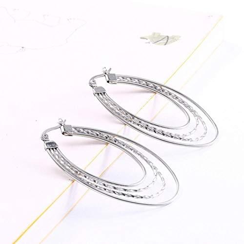 Empty Ovale Creolen aus Edelstahl mit Vier Schichten Tränenförmige Huggie-Ohrringe für Frauen Beste Damengeschenke - Silber