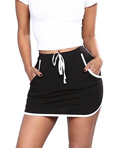 xxxiticat Womens Fitness Athletic Active Tennis Golf Mini Skirt Lightweight Skorts with Pockets(BL,2XL) Black