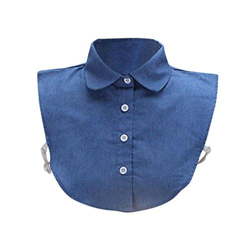 Kanpola Damen Kragen Bluse Top Elegant Abnehmbare Blusenkragen Shirtkragen Topkragen Weiß/Grau (Blau Z2)