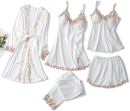 Pajamas Sleep Sets Spring Rare Robe Womens Max 44% OFF 5pcs Stra Sleepwear Kimono