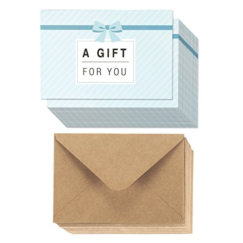 Juvale 36-Pack Paper Gift Certificates - Gift Cards for Businesses, Personal Gift-Giving, Seasonal Holiday Use, 36 Brown Kraft Paper Envelopes Included - 4 x 6 Inches