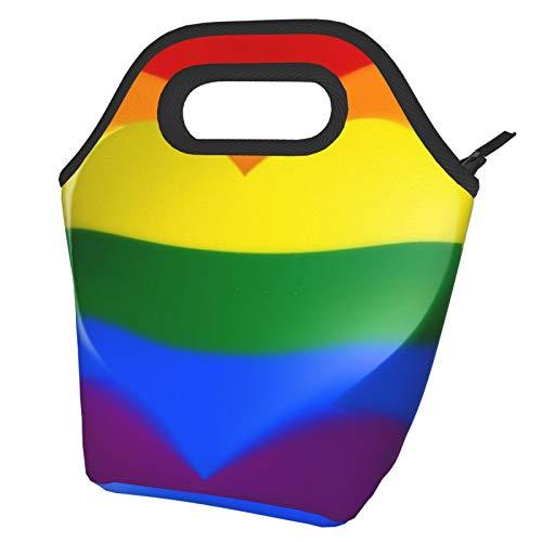La bandera del arco iris con una bolsa de almuerzo en forma de corazón Fiambrera reutilizable con aislamiento Bolsa de almuerzo portátil Bolsa de comida Bolsa de hielo para adultos o niños