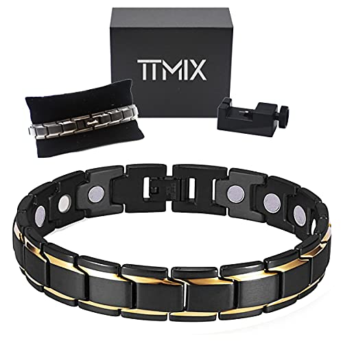 High Strength Pure Titanium Magnetic Therapy Bracelet 5000 Ga Magnets for Womens Mens Health, Arthritis Pain Relief with Premium Gift Box