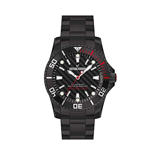 Heinrichssohn Köln - Armbanduhr - Herrenuhr - Quarzuhr - Edelstahl - schwarz - Drehbare Lünette