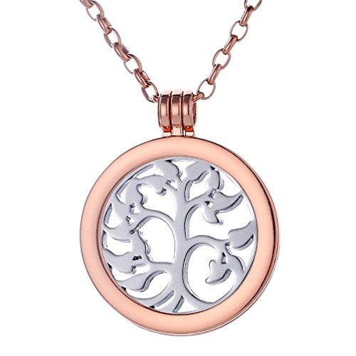 Morella Collana Donna 70 cm Acciaio Inossidabile Oro Rosa con Coins Moneta amuleto Ciondolo Rotondo 33 mm Albero della Vita Color Argento in Sacchetto di Velluto