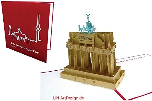 3D Karte POP UP Karte Architektur Brandenburger Tor, Berlin (braune Tor) (172)