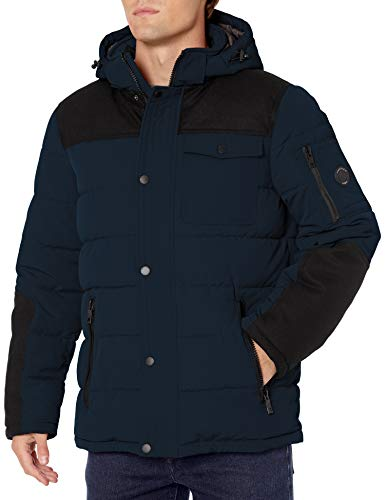 Nautica Men's Quilted Parka Jacket with Removable Hood, Midnight, Large