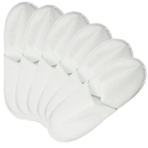 com-four® 6 Pares de Zapatillas de Felpa - Zapatillas acogedoras con Suela Antideslizante - Talla 38/39 - Color: Blanco (06 Pares Blancos - 38/39)