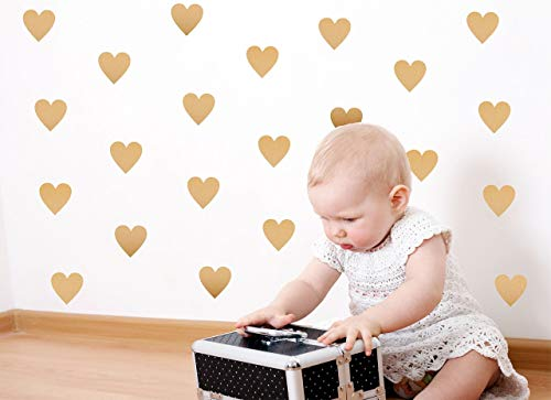 Gold Heart Wall Decals (200 2 inch Decals) Easy Peel and Stick Metallic Gold Finish Removable Decals Safe on Painted Walls