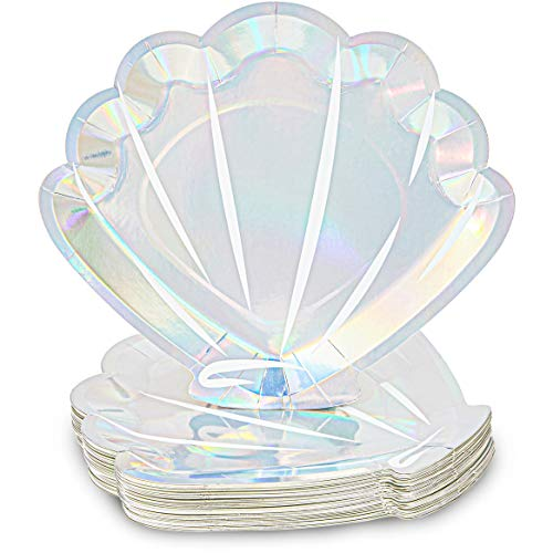 Mermaid Seashell Paper Plates in Holographic Foil Design (9 In, 48 Pack)