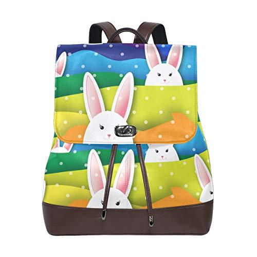 Ahomy Damen Leder-Rucksack Osterhase Kaninchen Wasserdicht Anti-Diebstahl Mode Schule Rucksack Casual Daypacks