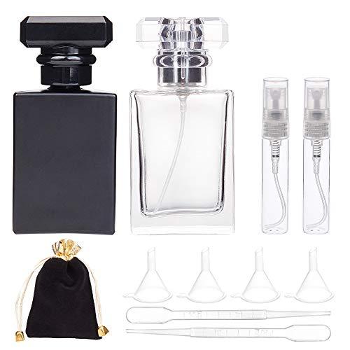 BENECREAT 2 Pack 30ml Botella Cristal Vacía de Perfume Spray de Perfume Contenedor Rectángulo Transparente y Negro con Bolsa de Envase, Pipetas y Embudos para Cosmético