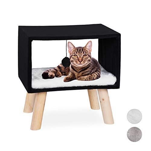 Relaxdays, schwarz Katzenhocker, Haustierhocker für Katzen, Spielball & Kissen, Katzenhöhle Hocker, 41 x 40,5 x 30,5 cm, 30,5 x 40,5 x 41 cm