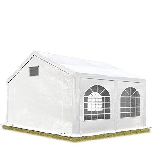 TOOLPORT Partyzelt Festzelt 3x4 m in weiß Professional 300 g/m² PE Plane Wasserdicht UV Schutz mit BODENRAHMEN Gartenzelt