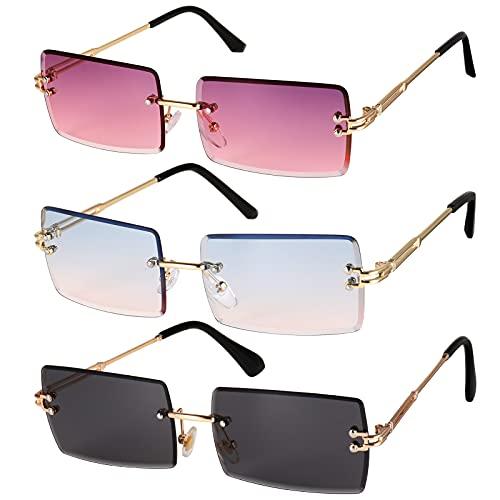 Gaosaili 3 Stücke Rechteck Randlose Sonnenbrille, Rechteck Retro Durchsichtige Linse Rahmenlose Sonnenbrille für Frauen Männer - Square Rimless Sunglasses