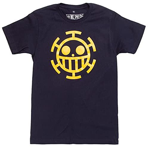 Ripple Junction One Piece Anime Tee Trafalgar Law Jolly Roger Flag Emblem Mens T-Shirt Dark Navy