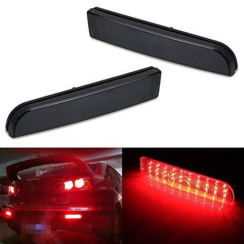 iJDMTOY Black Smoked Lens LED Bumper Reflector Lights Compatible With Mitsubishi Lancer, Evolution X or Outlander