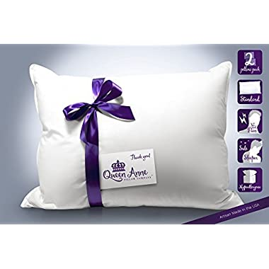 2 Luxury Hotel Pillows – Hand Crafted- Sleep on the Comfort of Down Alternative with Queen Anne's Exclusive Heavenly Down Hypoallergenic Pillow Set - Made in USA (Standard Size, Medium Fill)