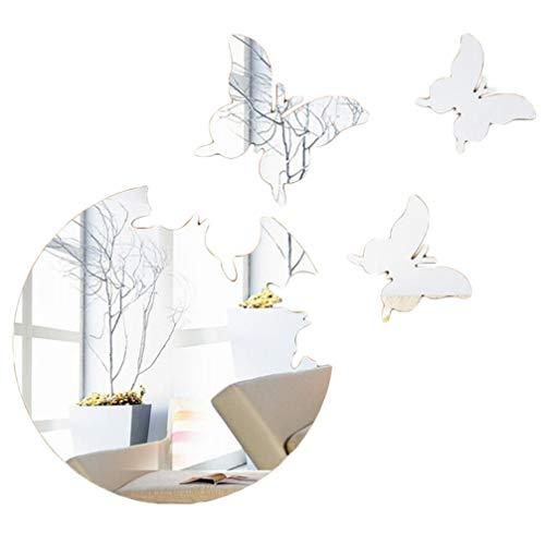 Toporchid Papillon Décoration 3D Miroir Stéréo Stickers Muraux Salon Chambre Décoration de La Maison (Argent