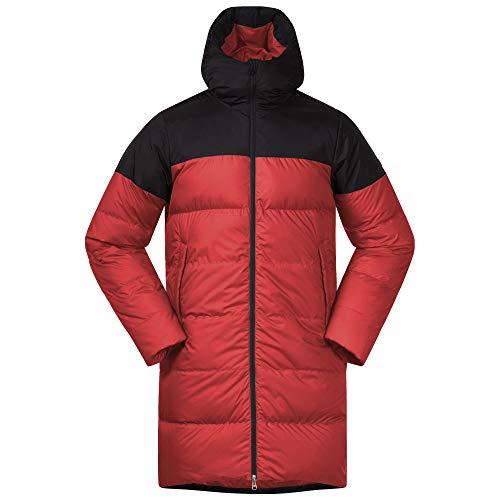 Bergans Oslo Down Parka Colorblock-Rot-Schwarz, Daunen Wintermantel, Größe S - Farbe Red Sand - Black