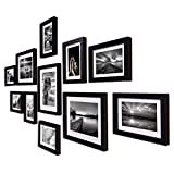 """Material : High Quality Synthetic Wood, unbreakable Plexi Glass and Mdf Back; Color : black Photo Size : 3 piece : 8"""" x 10"""", 8 piece : 6"""" x 8"""" (White matt board included) Total Wall Size : 32"""" x 60"""", Photo pieces hang both vertically and horizontally..."""