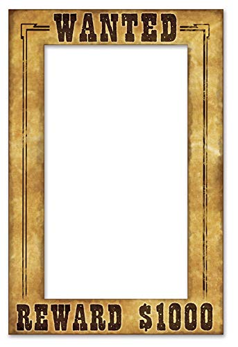 Beistle Wanted Photo Booth Fun Selfie Frame Western Party Supplies, 15.5' x 23.5', Multicolored