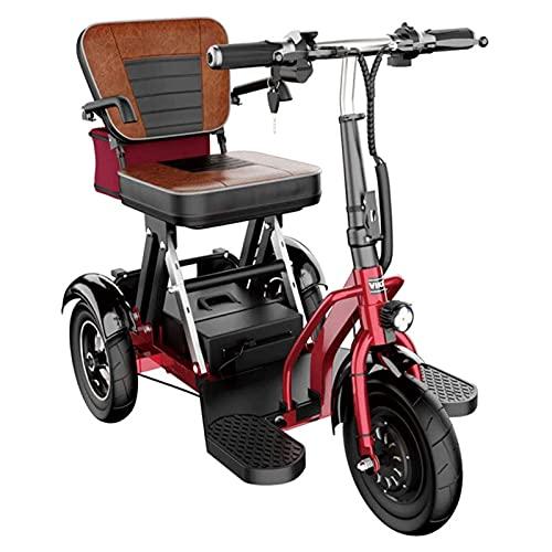 SUYUDD Mini Triciclo Elettrico Vecchio Scooter Auto Elettrica Pieghevole Auto per Adulti Disabili 300 W Potenza del Motore Peso Corporeo 26 kg -3 Cambio di Marcia - Chilometraggio Massimo 30 Km