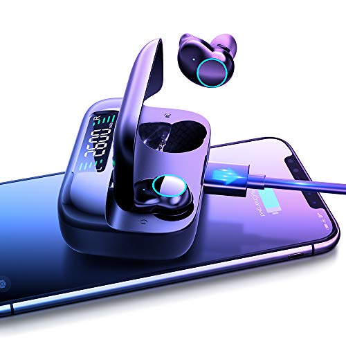 Wireless Kopfhörer Bluetooth in Ear,True Kabellos Earbuds,mit Ladekästchen Headphones,Ultra-Lange,mit Mikrofon,Bluetooth 5.0 Headsets für Handy/Sport/Laufen/Android/IOS,5-stündige Spielzeit (Schwarz)