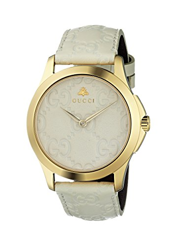 Gucci Damen Datum klassisch Quarz Uhr mit Leder Armband YA1264033