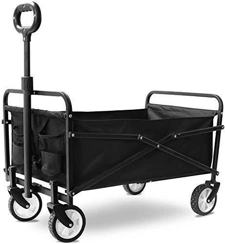 Folding Wagon Cart, Collapsible Utility Camping Grocery Canvas Portable Rolling Lightweight Buggy,Black