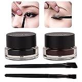 2 Colores Crema Delineador de Ojos, Crema de Delineador de Ojos Impermeable y de Larga Duración, Maquillaje de Ojos Cosmética