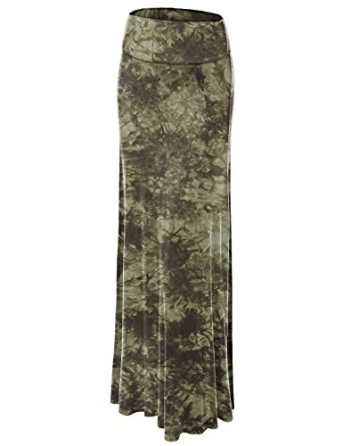 Lock and Love WB1058 Womens Tie Dye Fold Over Maxi Skirt XXXL Olive