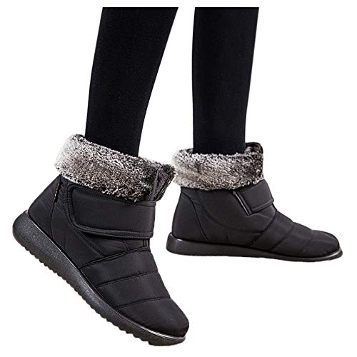 Simayixxch Womens Snow Boots Round Toe Low Heel Non-Slip Winter Cotton Shoes Plush Ankle Booties Party Casual Snowboot
