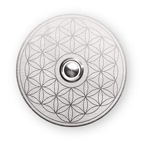 Metzler Unterputz Türklingel Edelstahl - Mandala-Muster - rund - LED-Taster - Klingelplatte Türschild - wetterfest