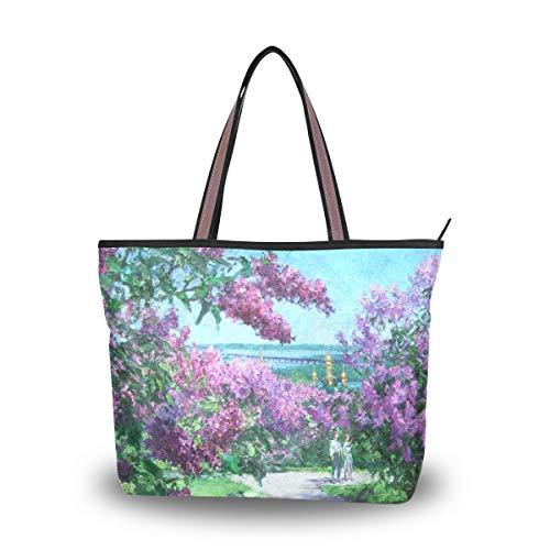 Eslifey Damen Handtasche mit Blumenmuster, Violett Gr. 38, multi