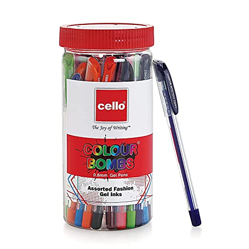Cello Colour Bombs Jar-Pack of 25   Assorted coloured ink Gel pens   10 vivid ink colours   Ideal for art, project work, journal work, presentations