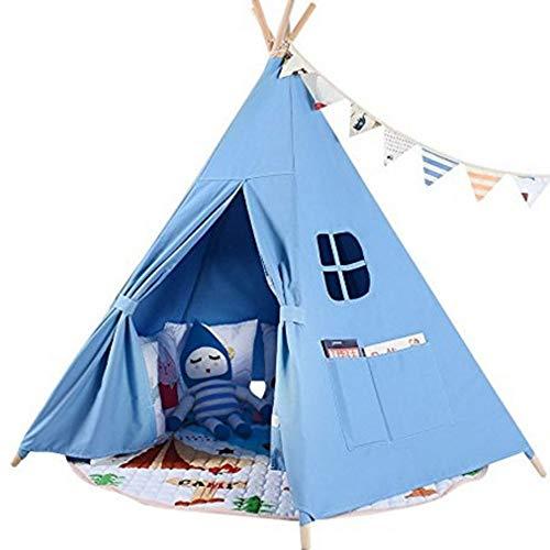 Tipi para niños India lona Teepee Kids Play tienda de campaña con cuatro postes de madera for interiores o exteriores Juego de las muchachas y los muchachos de los niños decoración de la habitación Ju