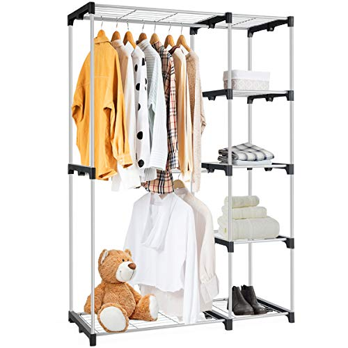 Tangkula Free-Standing Closet Organizer, Garment Rack with 5...
