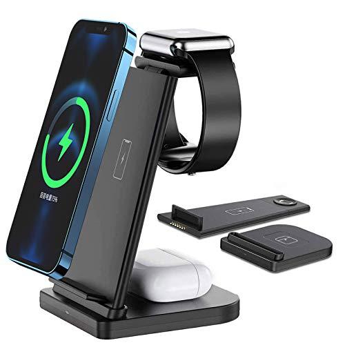 Cargador inalámbrico 3 en 1, estación de carga inalámbrica para iPhone, Apple Watch y AirPods, estación de carga inalámbrica para iPhone 6/SE/5/4/3/2, desmontable y plegable