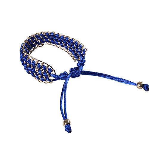 BVCX - Reloj de pulsera de cuerda trenzada de varios colores, 42 mm/46 mm/activo/correa de muñeca con correa de malla de metal (color de la correa: azul oscuro)