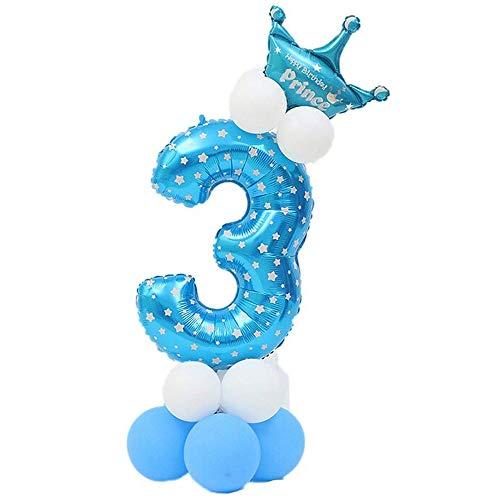 JinSu Decoracion Cumpleaños 3 Años para Niño, 13 PCS con Cumpleaños Globos Numero, Globos de Crown y Globos de Látex (Azul 3)