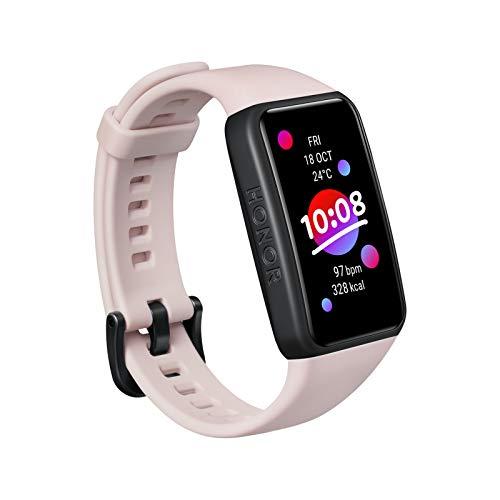 HONOR Band 6 SmartWatch, Pulsera Inteligente de Actividad, Monitor de Actividad, Monitor de Frecuencia Cardíaca SpO2, Fitness Tracker, 1.47' Pantalla AMOLED Reloj Inteligente para Mujer Hombre, Rosa