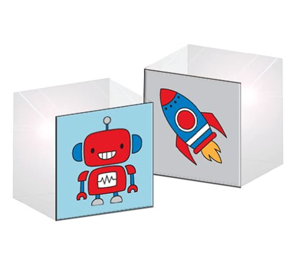 Prima 200954 Acrylic Robot Print Rubber Stamp with 1-1/2 by 1-1/2-Inch Block